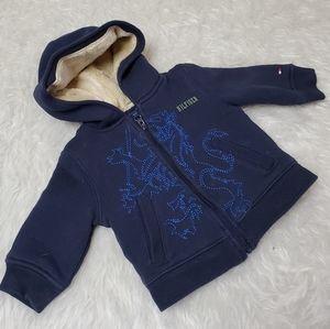 Tommy Hilfiger baby blue fur lined zip up hoodie